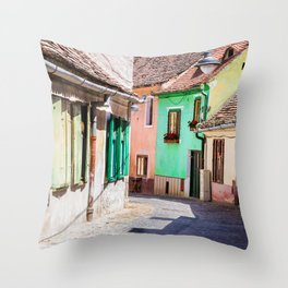 Multi Coloured Cottages Throw Pillow