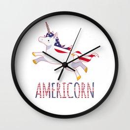 Unicorn USA America Americorn fun gift Wall Clock