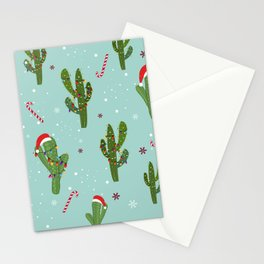 Cactus With Colorful Light Bulb. Merry Christmas and Happy New Year Seamless Pattern Stationery Cards