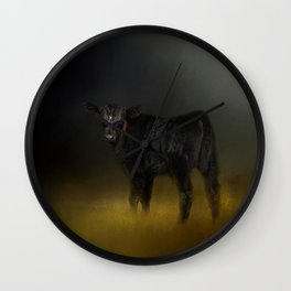 Black Angus Calf In The Moonlight Wall Clock