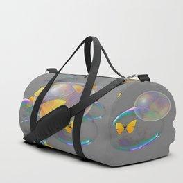#2 YELLOW BUTTERFLIES  & SOAP BUBBLES GREY COLOR Duffle Bag