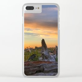 Salty Raven of Cape Meares Driftwood Sunset by Seasons K Clear iPhone Case