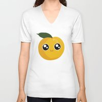 peach V-neck T-shirts featuring Peach by GarethAdamson