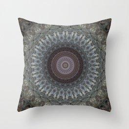 Mandala in grey and brown tones Throw Pillow