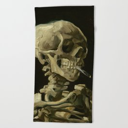 Skull Of A Skeleton With A Burning Cigarette - Vincent Van Gogh Beach Towel