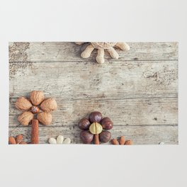 Dried fruits arranged forming flowers (3) Rug