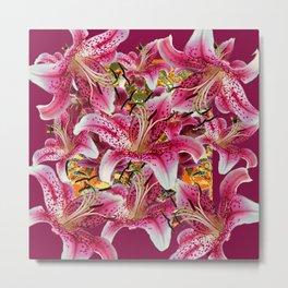 BURGUNDY GARDEN ASIAN LILY FLOWERS FLORAL ART Metal Print