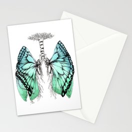 Butterfly Lungs Blue Green Stationery Cards