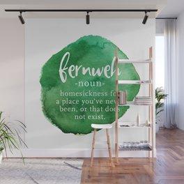 Fernweh Word Nerd - Green Watercolor Wall Mural