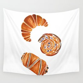 French pastries - croissant, chocolate, rasin Wall Tapestry