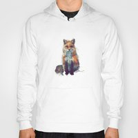 painting Hoodies featuring Fox by Amy Hamilton