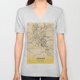 Dhaka Yellow City Map Unisex V-Neck