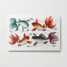 Chinese painting featuring two gold and two silver fish (ca1800-1899) from the Miriam and Ira D Wall Metal Print