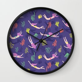 Swimming in the coral reef, seaweed, bikini swimmer, mermaids Wall Clock