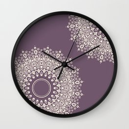Asymmetric Mandalas on Mulberry Background Wall Clock