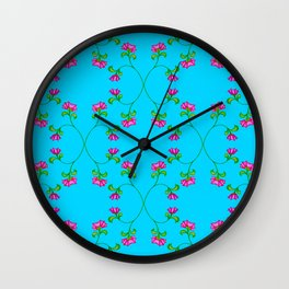Floral Latticework on blue Wall Clock