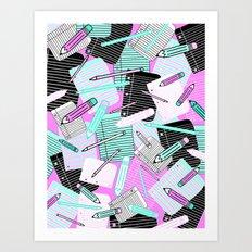 Loose leaf & pencils Art Print