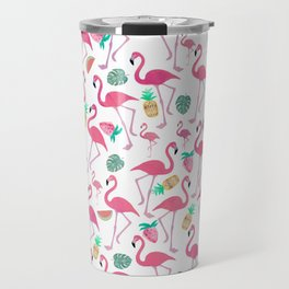 Tropical pink watercolor flamingo sweet summer fruit pattern Travel Mug