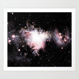 Orion Nebula Pink Peach Gray Art Print