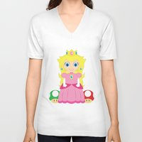 princess peach V-neck T-shirts featuring Princess Peach by Xiao Twins