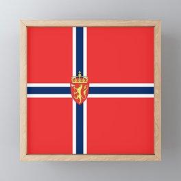 Flag of Norway Scandinavian Cross and Coat of Arms Framed Mini Art Print