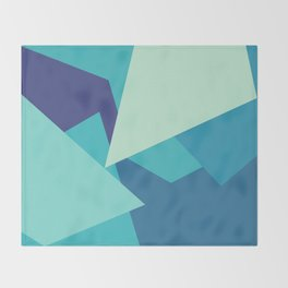 Retro Blue Mid-century Minimalist Geometric Line Abstract Art 1 Throw Blanket