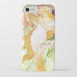 Alphonse Mucha Spring Floral Vintage Art Nouveau iPhone Case