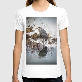 Heron pose along the bank T-shirt