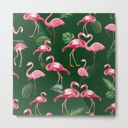 Flamingos Love Pattern 5 Metal Print
