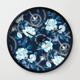 Midnight Sparkles - Gardenias and Fireflies in Sapphire Blue Wall Clock