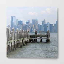 Boardwalk in front of Manhattan Skyline Metal Print