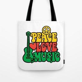 Reggae Peace Love and Music Tote Bag
