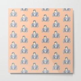 Sulky Sherlock - Peach Metal Print