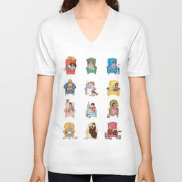 Reading fictional characters Unisex V-Neck