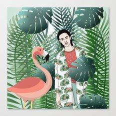 Flamenco and jungle girl Canvas Print