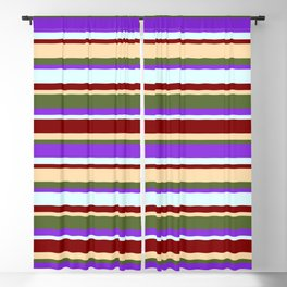 Eye-catching Maroon, Tan, Dark Olive Green, Purple, and Light Cyan Striped Pattern Blackout Curtain
