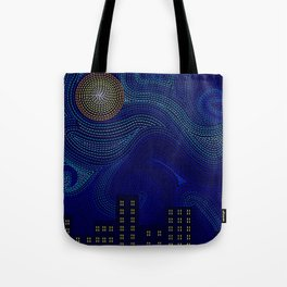 Blue Van Gogh Inspired Dark Night City Skyline Tote Bag