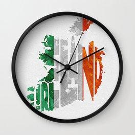 Ireland Typographic Flag Map Art Wall Clock