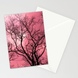 Haunting trees on pink sky Stationery Cards