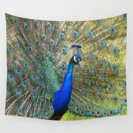 peacock during mating season Wall Tapestry
