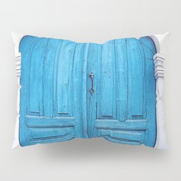 Vibrant Blue Greek Door to Whitewashed Home in Crete, Greece Pillow Sham