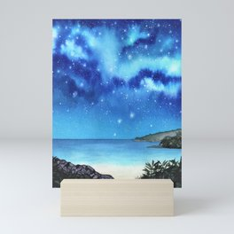 """Blue Paradise"" galaxy landscape painting Mini Art Print"