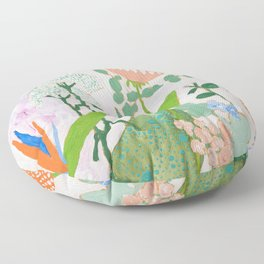 Multi Floral Painting on Pink and White Background Floor Pillow