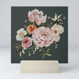 Loose Peonies and Poppies on Vintage Green Mini Art Print
