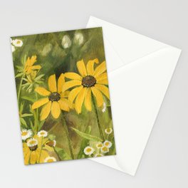 Watercolor Black Eyed Susan Wildflower Botanical Garden Flower Stationery Cards