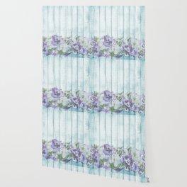 Romantic Vintage Shabby Chic Floral Wood Blue Wallpaper