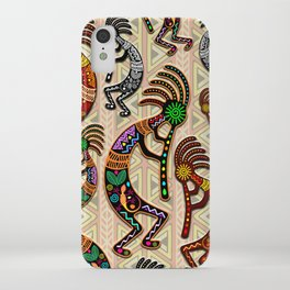 Kokopelli Rainbow Colors on Tribal Pattern  iPhone Case