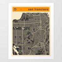 san francisco map Art Prints featuring San Francisco Map by Jazzberry Blue
