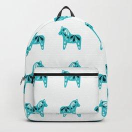 Dala Horse Pattern - Aqua on White Backpack