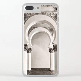 The Historic Arches in the Synagogue of Santa María la Blanca, Toledo Spain Clear iPhone Case
